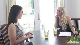 OldNannY Dressy Lesbian Interview and Tits Massage