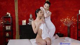 Horny lesbian masseur pleasures in the seventh heaven pussy of Bambi Joli