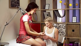 Sweet babes Lesya and Oxana enjoy ribbons each pinch-hitter on tap domicile