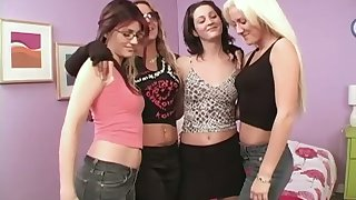 Three oversexed girls are toying each others wet and yummy pussies