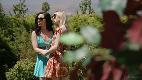 Unforgettable lesbian threesome copulation in the summer non-private in broad daylight
