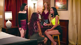 Bridal shower ends end up preposterous with an increment of passionate lesbian orgy