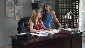 Butch pussy shellacking on the table - Cherie Deville and Gianna Dior