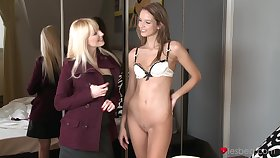 Slender infant Anita gets her pussy pleasured by a horny blonde